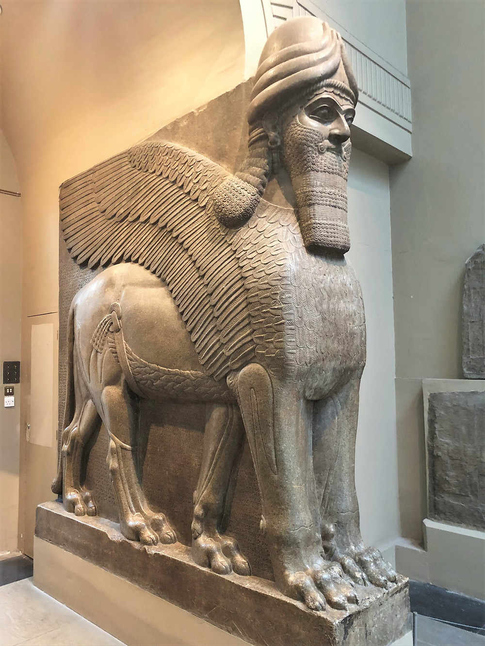 In The British Museum is a winged human-headed lions (lamassu) flanked an entrance to the royal palace of King Ashurnasirpal II