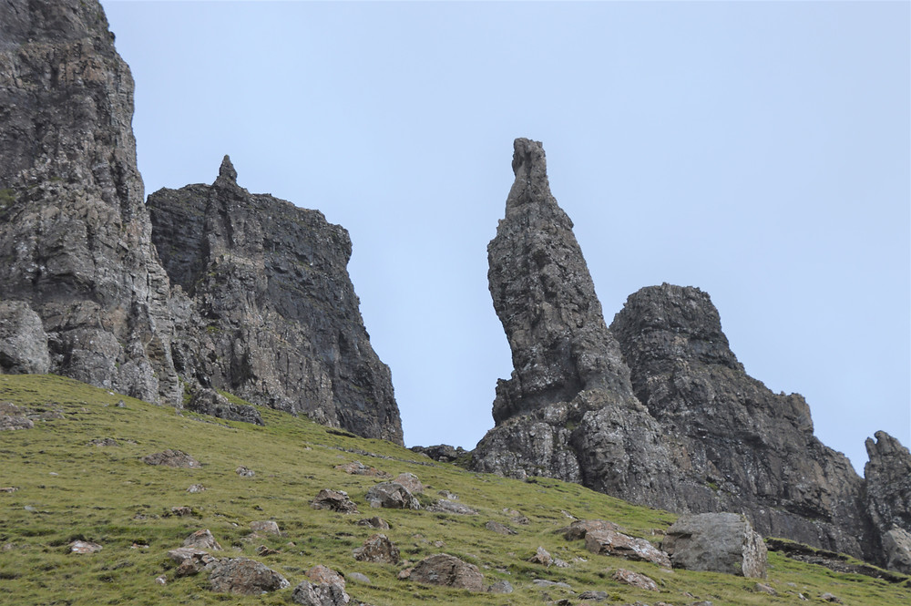 Massive basalt columns situated on the base of Meall na Suiramach's cliffs along Quiraing trail on the Isle of Skye