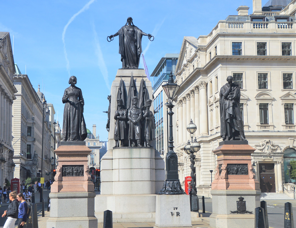 Guards Crimean War Memorial in London which commemorates the Allied victory in the Crimean War, bronze statues made from melted down cannons