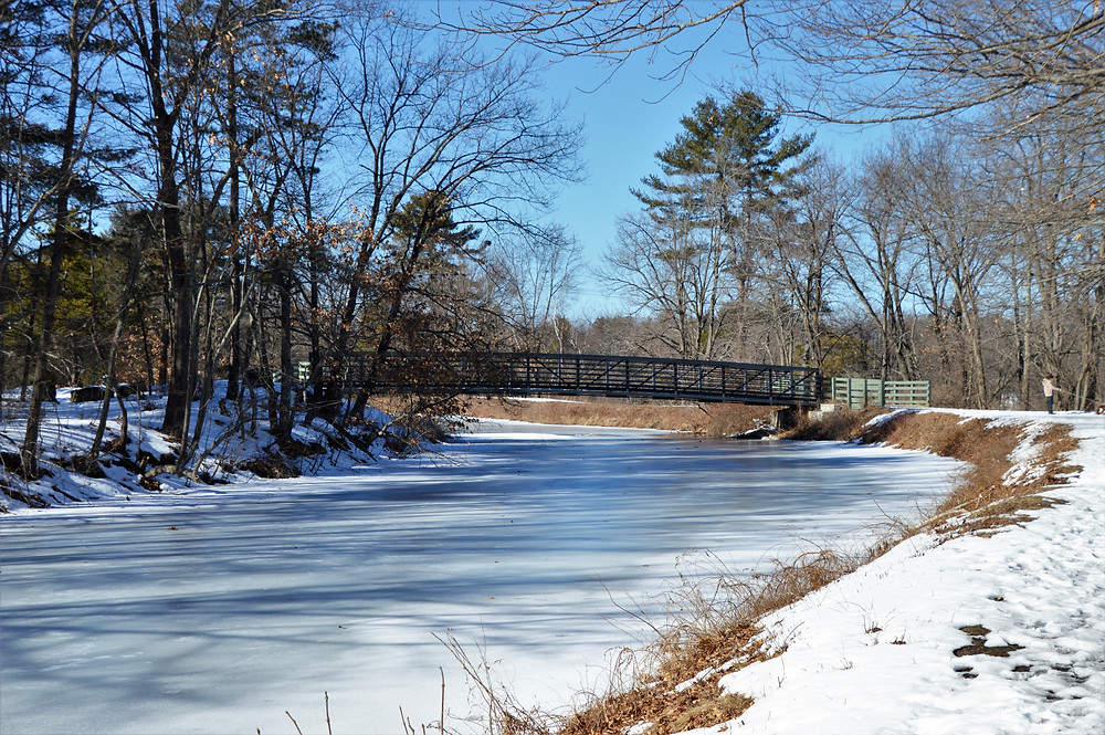 Bridge over Nashua Manufacturing Co canal in Mine Falls Park