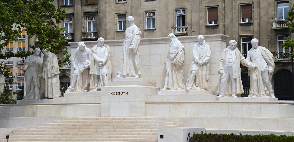 The Kossuth Memorial located outside the Hungarian Parliament Building in Budapest