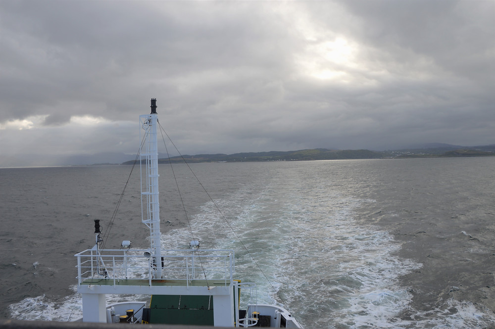 CalMac ferry in the open waters of Firth of Lorne heading to the Isle of Mull in Scotland