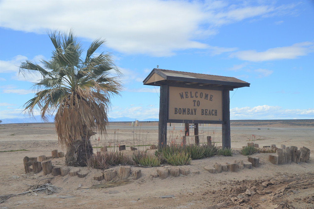 Welcome to Bombay Beach sign at Salton Sea