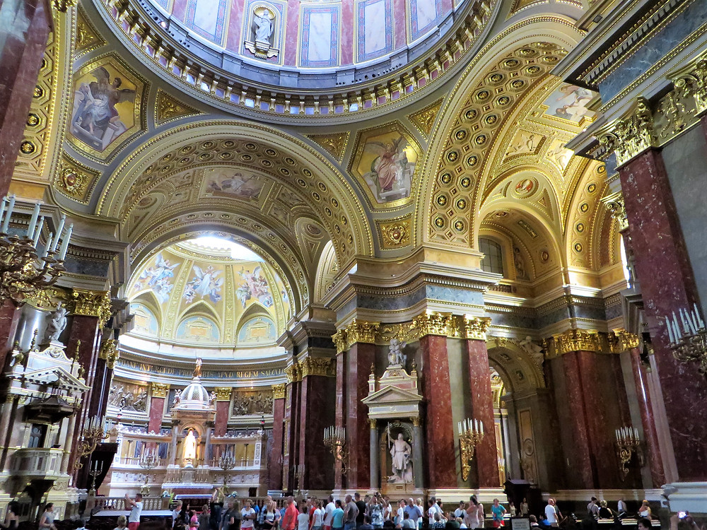 Entering the transept of St Stephen's Basilica in Budapest
