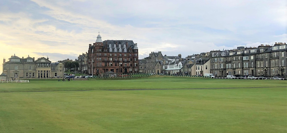 A view of the 18th fairway at St Andrews golf course in Scotland