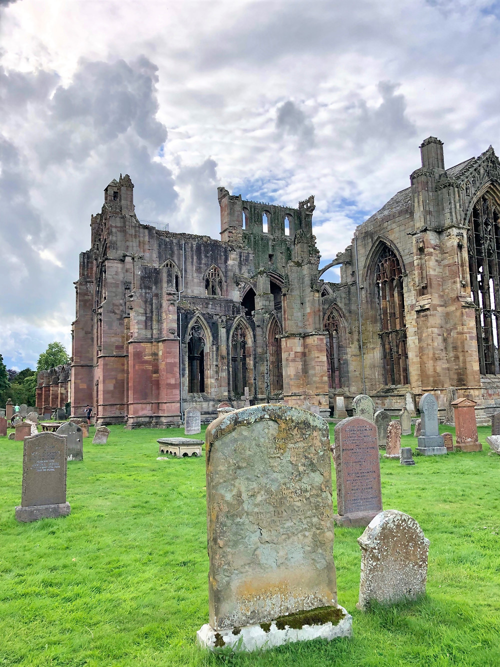 Cemetery on the grounds of Melrose Abbey in the Border Region of Southern Scotland. Border abbey.
