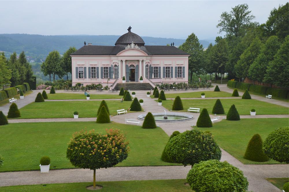 Beautiful garden on the grounds of Melk Abbey in Austria