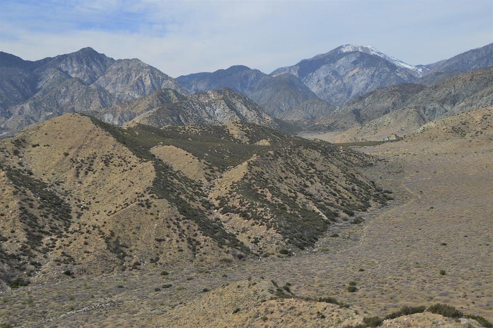 San Gorgonio and San Bernardino Mountains from PCT trail in San Gorgonio Wilderness area