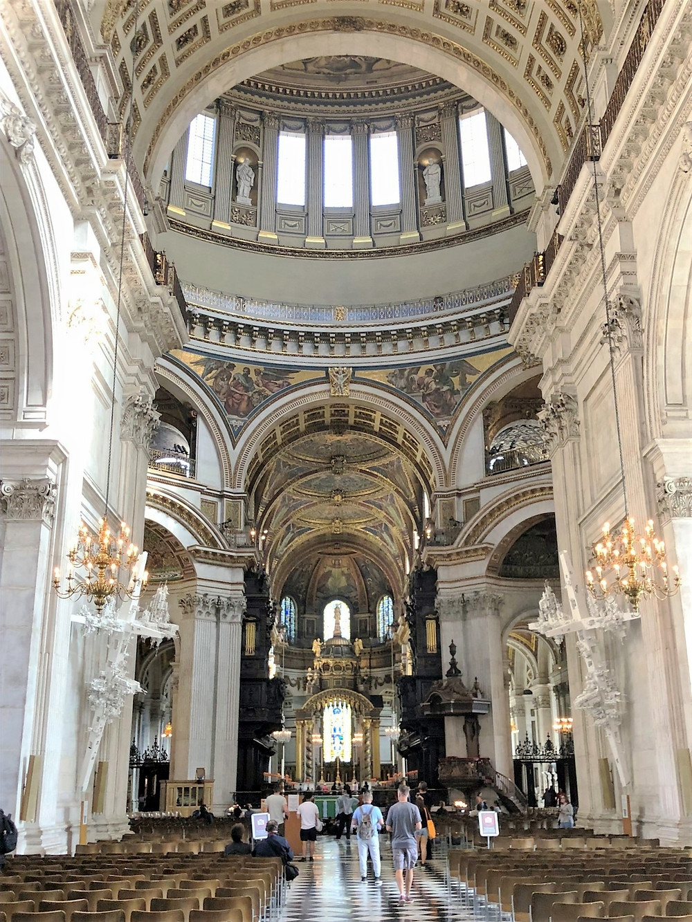 In St Paul's Cathedral in London.  The nave looking toward the quire. The nave is 91 ft high, 121 ft wide and 223 ft in length.