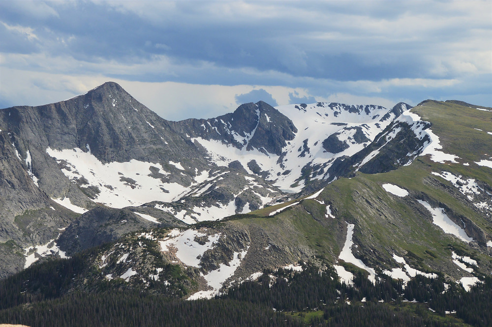 Mount Julian (left of center) a 12,933 foot peak; Cracktop (center peak) at 12,760 feet and Chief Cheley Peak visible to the right of the snow bowl (12,804 feet).