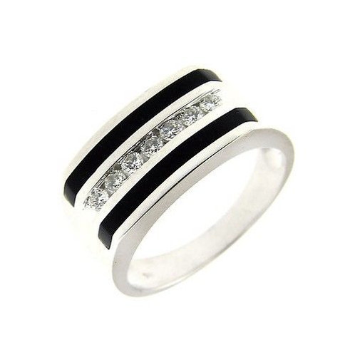 050 Ct White Gold Black Onyx Diamond Fashion Mens Ring 14 Kt