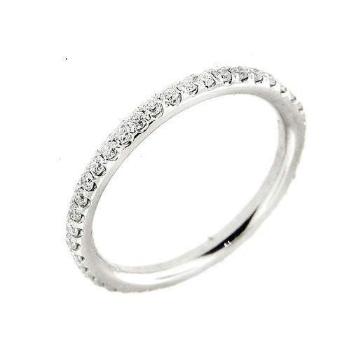0 60 Ct Pave Set Diamond Platinum Eternity Women S Wedding Band Ring