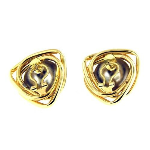 14 Kt Yellow Gold Triangle Shape Earrings With Omega Clasp The Contain A White Dome Ball In Center