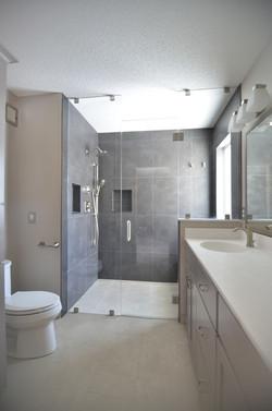 Zero entry shower bathroom
