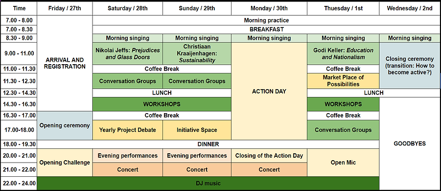 time table, program