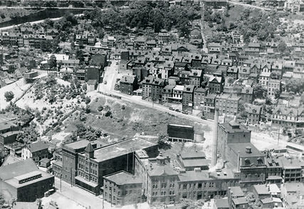Aerial view of brewery complex in 1930