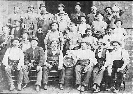 old photo of Eberhart & Ober Brewery employees