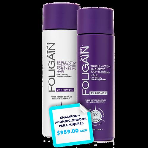 Promo Paquete Shampoo + Acondicionador  Foligain PARA MUJERES