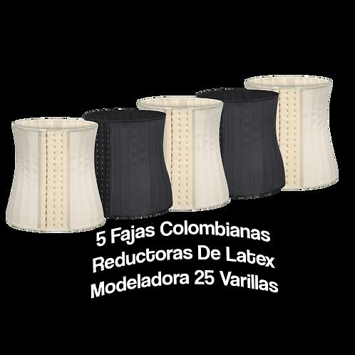 5 Fajas Colombianas Reductoras De Latex Modeladora 25 Varillas