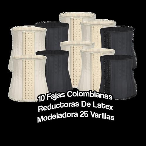10 Fajas Colombianas Reductoras De Latex Modeladora 25 Varillas