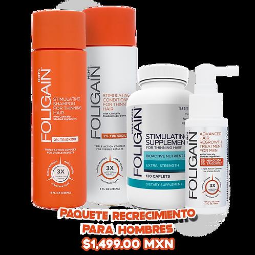 Paquete Recrecimiento: Minoxidil 5% + Suplemento + Shampoo + Acondicionador