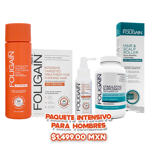 Paquete Intensivo: Trioxidil 10% + Suplemento 120 pastillas + Roller +Shampoo