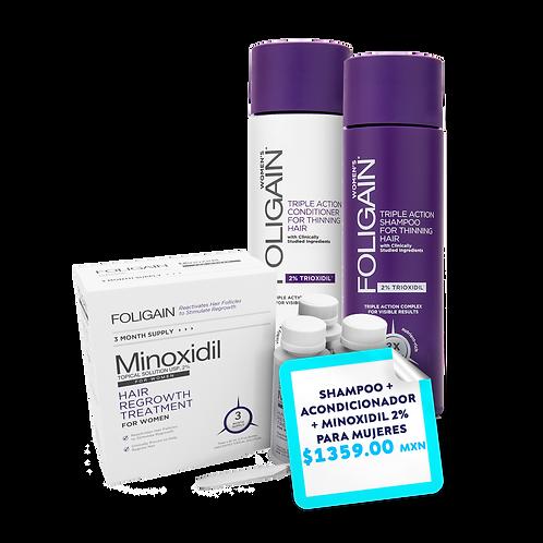 Promo Paquete Shampoo + Acondicionador  Foligain + Minoxidil 2% PARA MUJERES