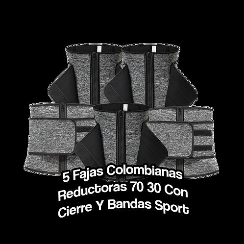 5 Fajas Colombianas Reductoras 70 30 Con Cierre Y Bandas Sport