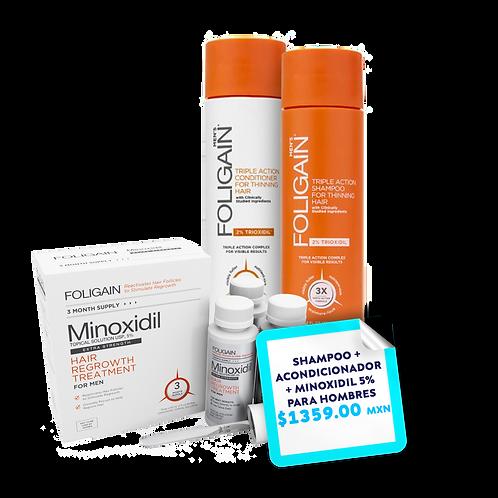 Promo Paquete Shampoo + Acondicionador  Foligain + Minoxidil 5% PARA HOMBRES