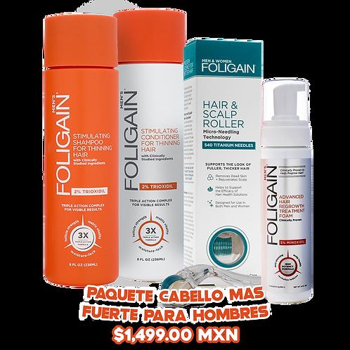 Paquete Cabello Más Fuerte: Shampoo + Acondicionador + Roller + Espuma