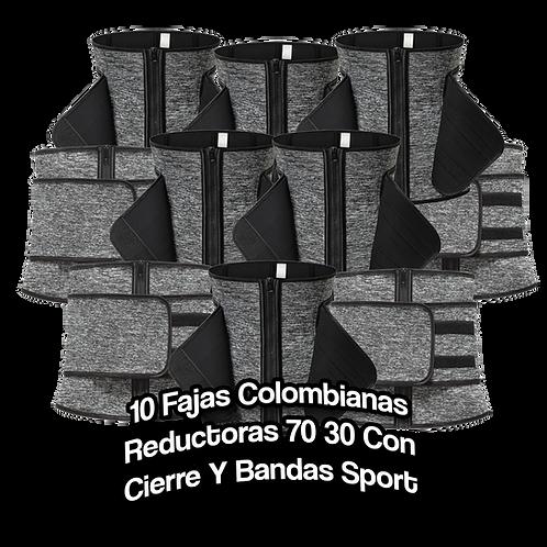 10 Fajas Colombianas Reductoras 70 30 Con Cierre Y Bandas Sport