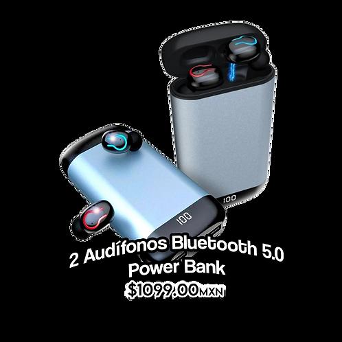 2 Audifonos Bluetooth 5.0 Power Bank 6000 Mah Excelentes Bajos