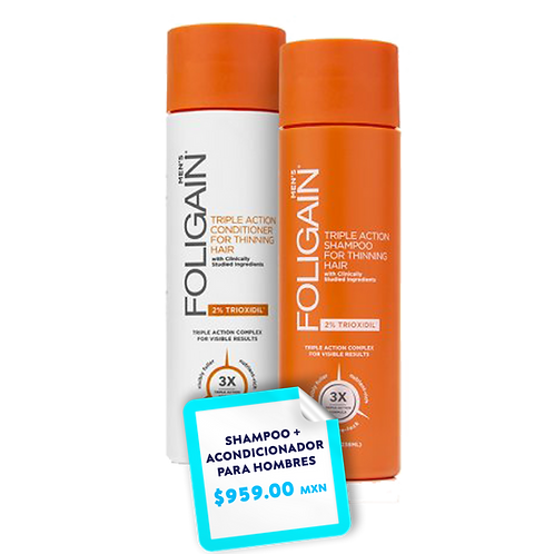 Promo Paquete Shampoo + Acondicionador  Foligain  PARA HOMBRES