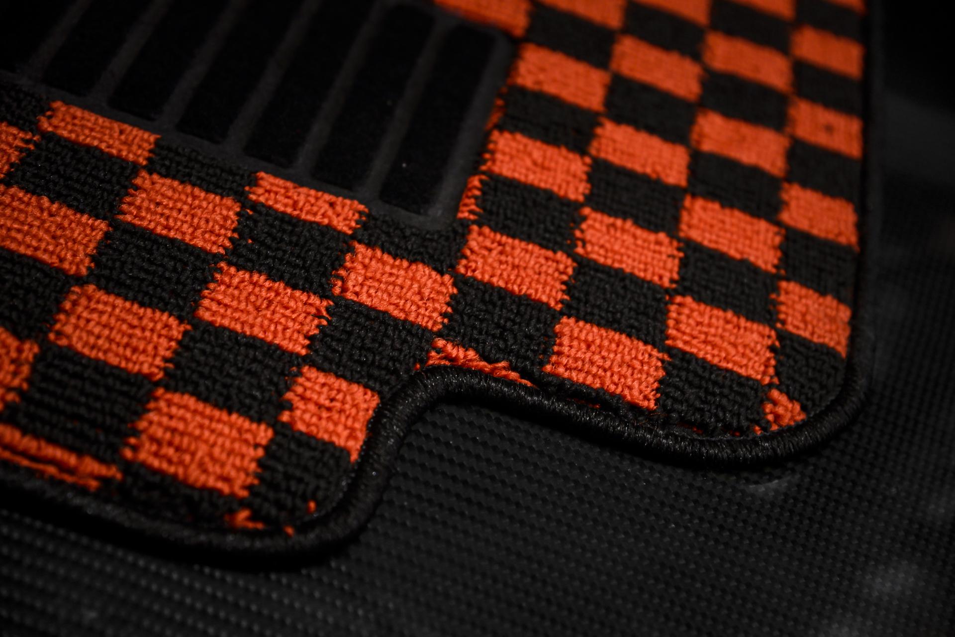JDM Checkered Floor Mats Heel Pad
