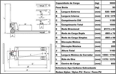 Dados técnicos paleteira manual BYG Eolution L 3.0 G