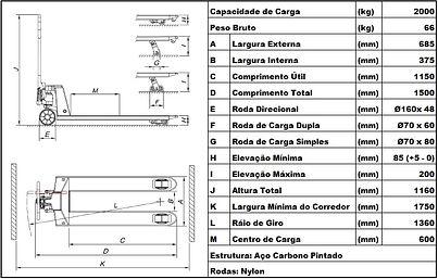Dados técncos paleteira manual BYG Compact R 2.2 v2