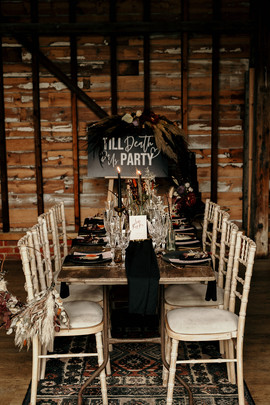 Rock and Neon Tablescape