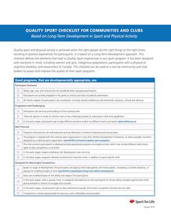 Sport for Life Quality Sport Checklist