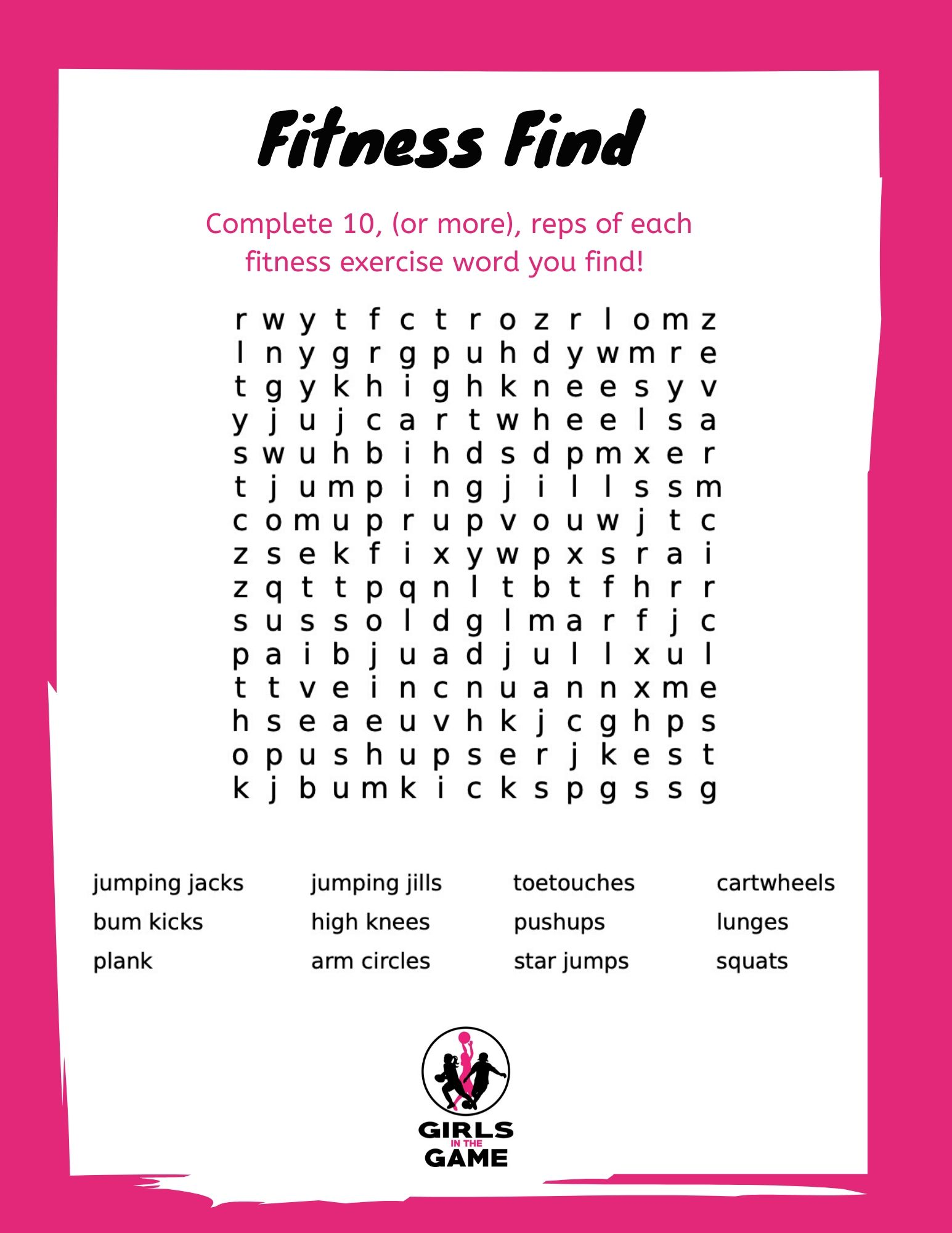 Fitness Word Find