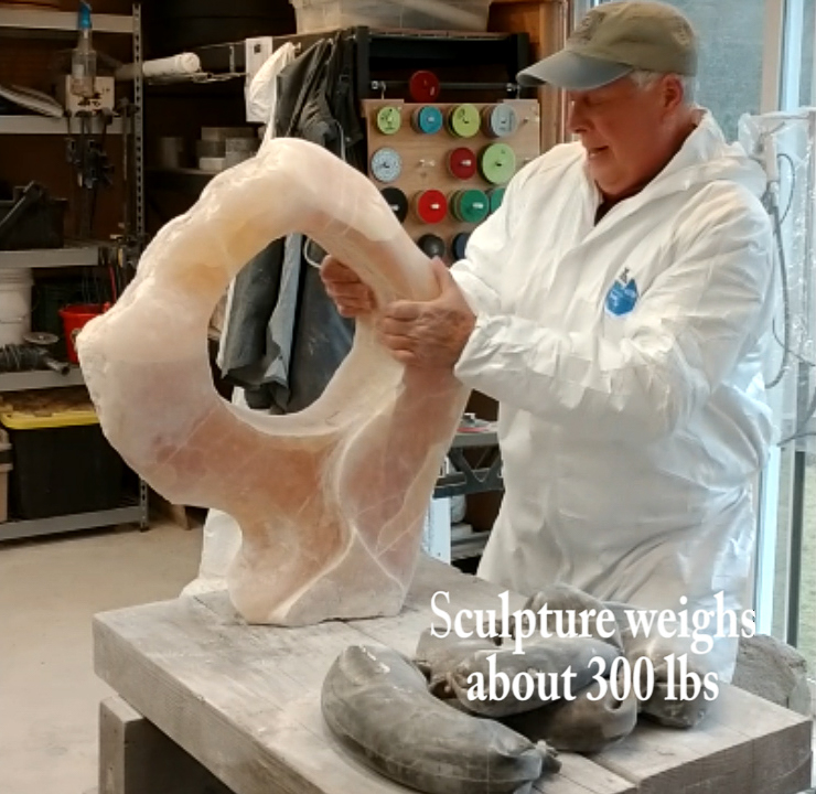 Sanding the sculpture