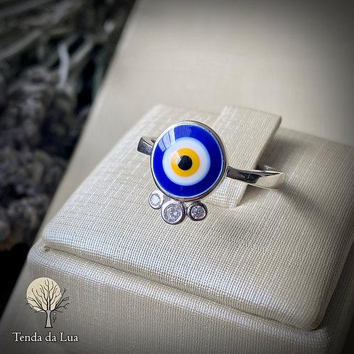 Anel em Prata 925 - Olho Grego/Turco e Zircônios