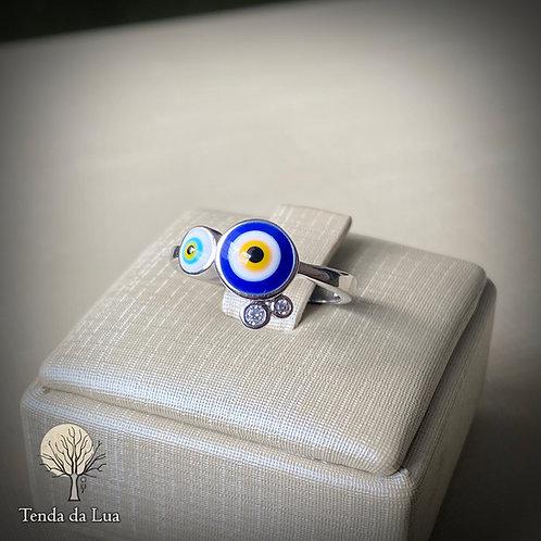 Anel em Prata 925 - Olho Grego/Turco duplo e Zircônios