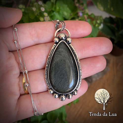 CLP06 - Colar de Prata com Obsidiana Prata