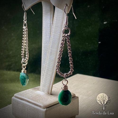 Brincos Amuletos com Silimanita Verde