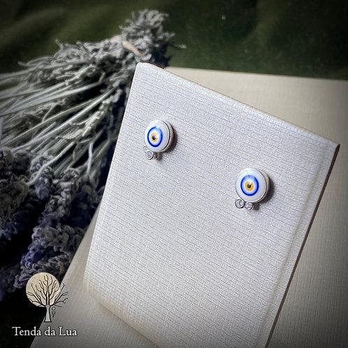 Brincos em Prata 925 - Olho Grego/Turco e Zircônios