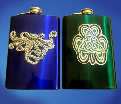 Octopus and Celtic Shamrock Flasks