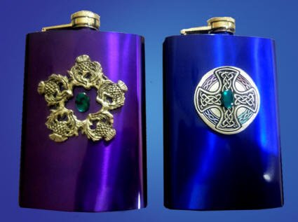 Scottish Thistle and Northumberland Cross Flasks