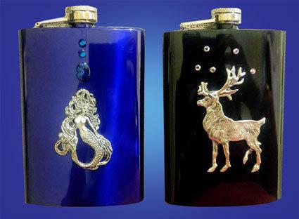 Mermaid and Caribou Flasks