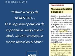 ACRES Finance en Diario Gestión | ACRES SAB realizó 2da colocación más grande en el MAV