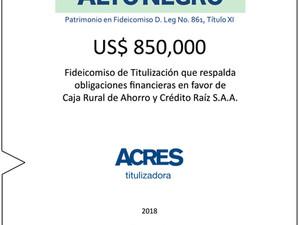 ACRES Titulizadora creó fideicomiso que respalda obligaciones en favor de Caja Rural de Ahorro y Cré
